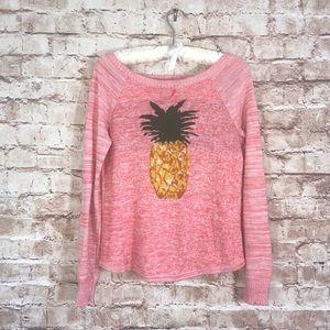 UO Cooperative Pink Pineapple Sweater Sz M